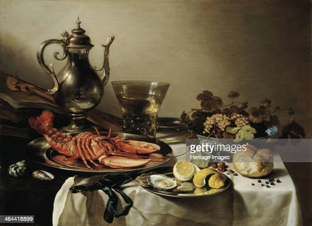 Table with lobster silver jug big Berkemeyer fruit bowl violin and books 1641 From a private collection