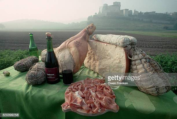 Table With Locally Produced Food and Wines Below Castle Torrechiara