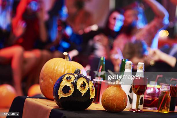 Table with many Halloween decorations. Debica, Poland