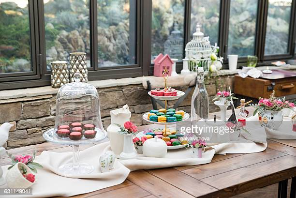 Table with pastries, tea and coffee