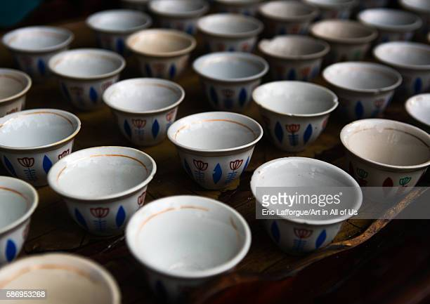 Table with traditional empty coffee cups semien wollo zone woldia Ethiopia on February 24 2016 in Woldia Ethiopia