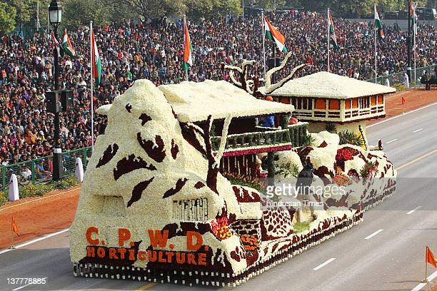 Tableau of CPWD float is seen at Rajpath during the Republic Day parade on January 26 2012 in New Delhi India Tableau of different states and...