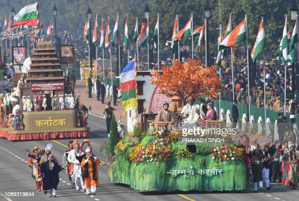 A tableau of the Indian state of Jammu Kashmir takes part in the 70th Republic Day parade in New Delhi on January 26 2019 India celebrated its 70th...