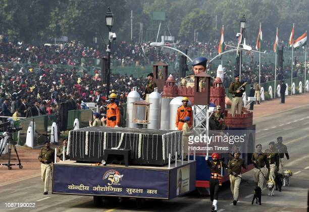 CISF tableau on display at Rajpath during the full dress rehearsal for the Republic Day Parade on January 23 2019 in New Delhi India