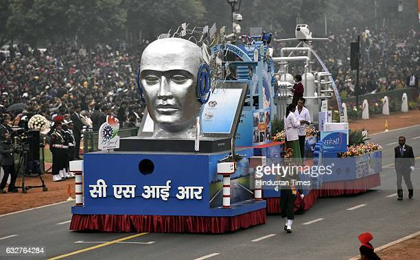 A tableau representing Council of Scientific and Industrial Research rolls down during the celebration of the 68th Republic Day at Rajpath on January...