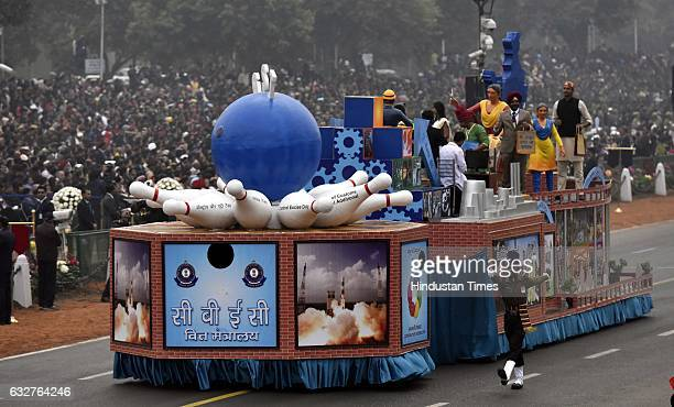 A tableau representing Ministry of Finance rolls down during the celebration of the 68th Republic Day at Rajpath on January 26 2017 in New Delhi...
