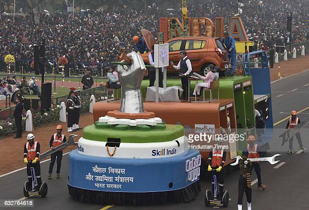 A tableau representing Ministry of Skill Development and Entrepreneurships rolls down during the celebration of the 68th Republic Day at Rajpath on...
