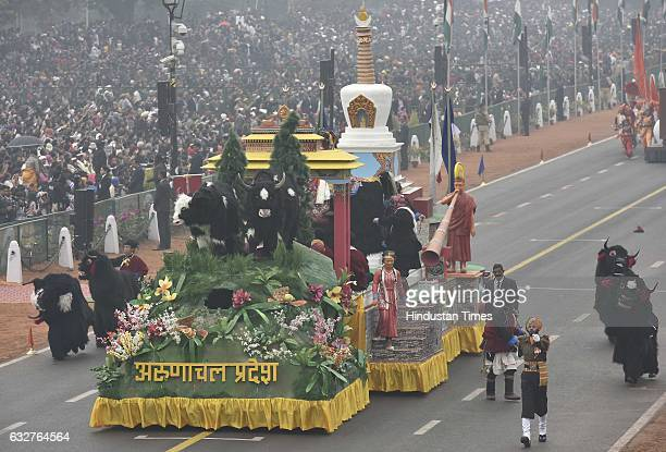 A tableau representing state Arunachal Pardesh rolls down during the celebration of the 68th Republic Day at Rajpath on January 26 2017 in New Delhi...