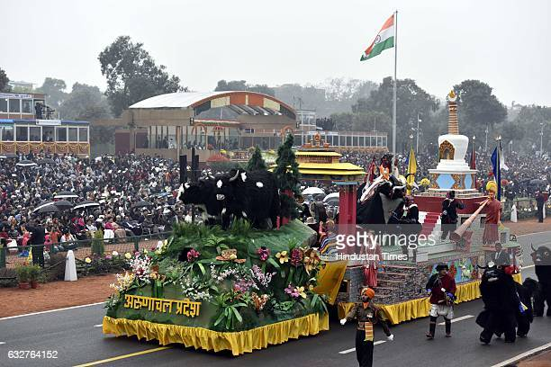 A tableau representing state Arunachal Pradesh rolls down during the celebration of the 68th Republic Day at Rajpath on January 26 2017 in New Delhi...