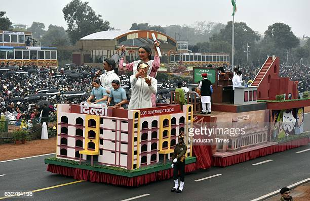 A tableau representing state Delhi rolls down during the celebration of the 68th Republic Day at Rajpath on January 26 2017 in New Delhi India India...