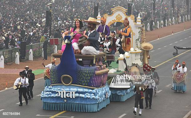 A tableau representing state Goa rolls down during the celebration of the 68th Republic Day at Rajpath on January 26 2017 in New Delhi India India...