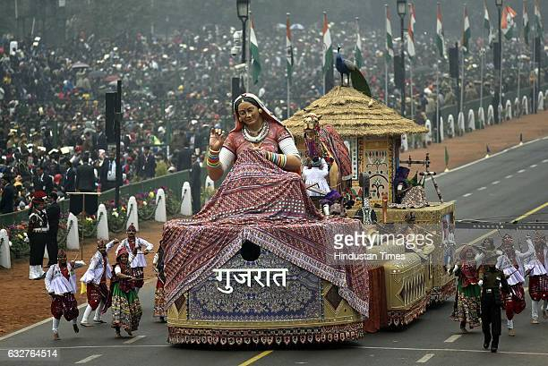 A tableau representing state Gujrat rolls down during the celebration of the 68th Republic Day at Rajpath on January 26 2017 in New Delhi India India...