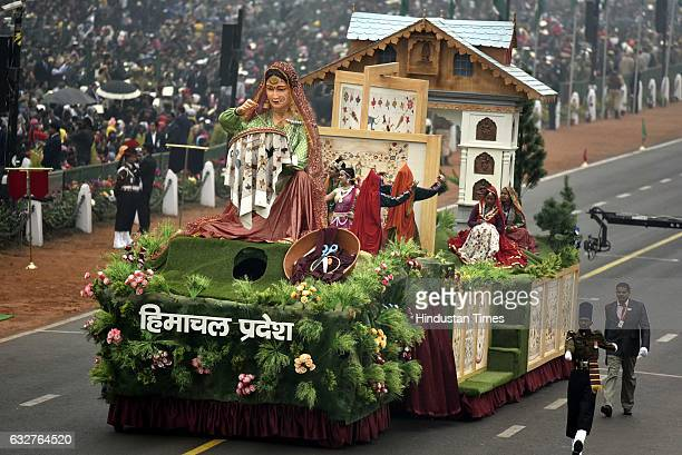 A tableau representing state Himachal Pardesh rolls down during the celebration of the 68th Republic Day at Rajpath on January 26 2017 in New Delhi...