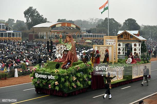 A tableau representing state Himachal Pradesh rolls down during the celebration of the 68th Republic Day at Rajpath on January 26 2017 in New Delhi...