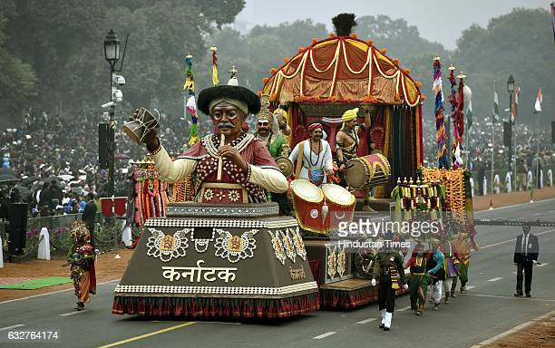 A tableau representing state Karnataka rolls down during the celebration of the 68th Republic Day at Rajpath on January 26 2017 in New Delhi India...
