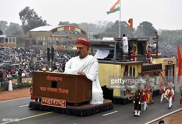 A tableau representing state Maharashtra rolls down during the celebration of the 68th Republic Day at Rajpath on January 26 2017 in New Delhi India...