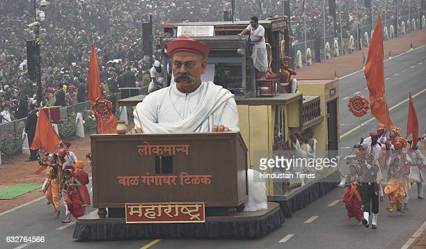 A tableau representing state Mahrashtra rolls down during the celebration of the 68th Republic Day at Rajpath on January 26 2017 in New Delhi India...