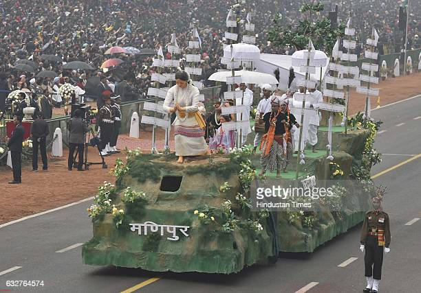 A tableau representing state Manipur rolls down during the celebration of the 68th Republic Day at Rajpath on January 26 2017 in New Delhi India...