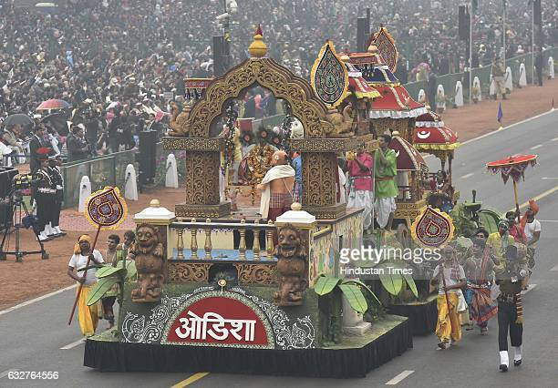 A tableau representing state Odisha rolls down during the celebration of the 68th Republic Day at Rajpath on January 26 2017 in New Delhi India India...