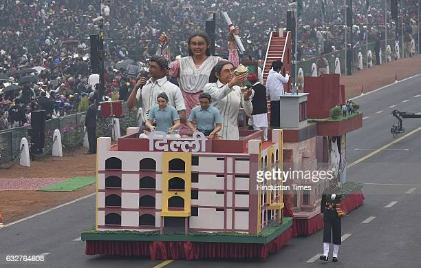 A tableau representing state of Delhi rolls down during the celebration of the 68th Republic Day at Rajpath on January 26 2017 in New Delhi India...
