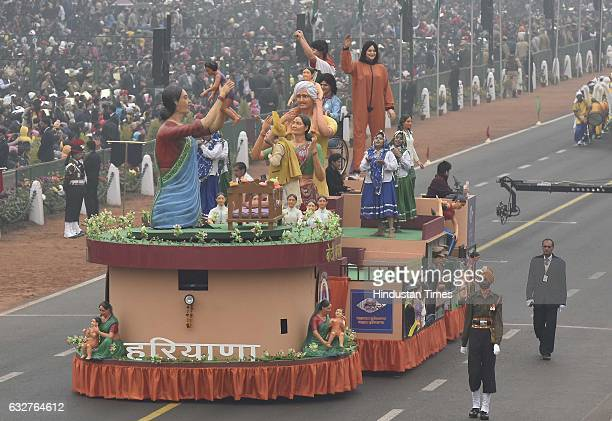 A tableau representing state of Harayana rolls down during the celebration of the 68th Republic Day at Rajpath on January 26 2017 in New Delhi India...
