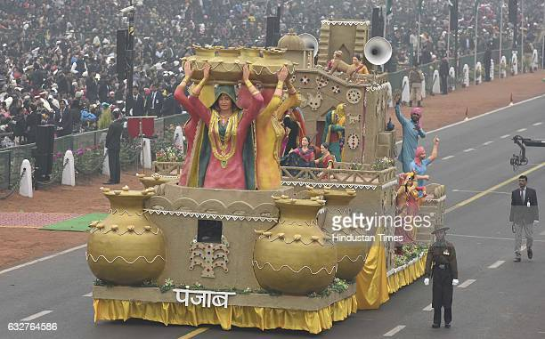 A tableau representing state Punjab rolls down during the celebration of the 68th Republic Day at Rajpath on January 26 2017 in New Delhi India India...