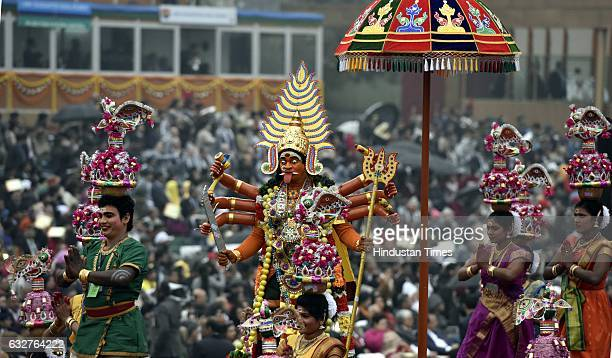 A tableau representing state Tamil Nadu rolls down during the celebration of the 68th Republic Day at Rajpath on January 26 2017 in New Delhi India...