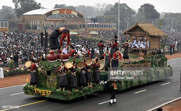 A tableau representing state Tripura rolls down during the celebration of the 68th Republic Day at Rajpath on January 26 2017 in New Delhi India...