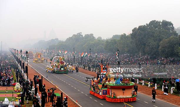 Tableau rolling down the Rajpath during the Republic Day celebrations in New Delhi