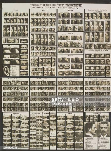 """Tableau synoptic des traits physionomiques: pour servir a l'�tude du """"portrait parl�"""", circa 1909. Artist Alphonse Bertillon."""