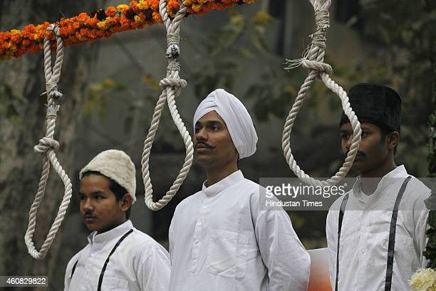 Tableaux depicting three national heroes Bhagat Singh Rajguru and Sukhdev before being hanged on gallows in the way of freedom of India during a...