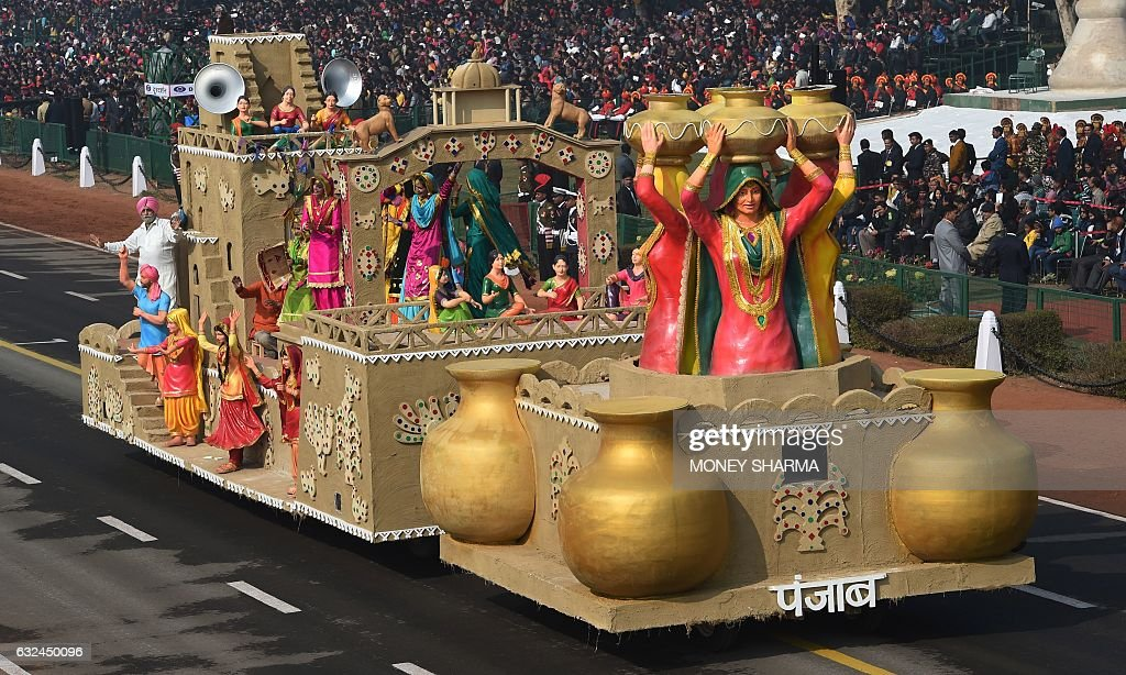 A tableaux of northern Indian state of Punjab take part in the full dress rehearsal for the upcoming Indian Republic Day parade in New Delhi on...