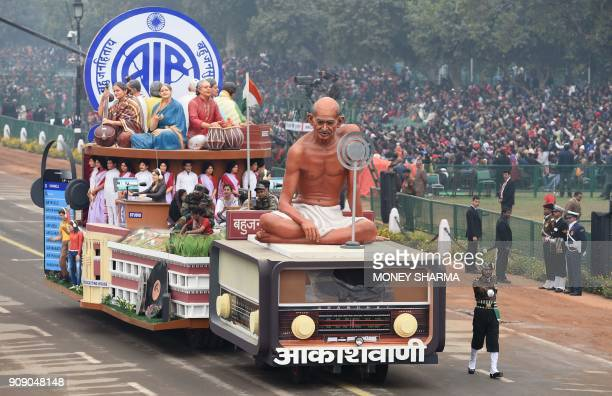 TOPSHOT A tableaux of the All India Radio take part in the full dress rehearsal for the upcoming Indian Republic Day parade in New Delhi on January...