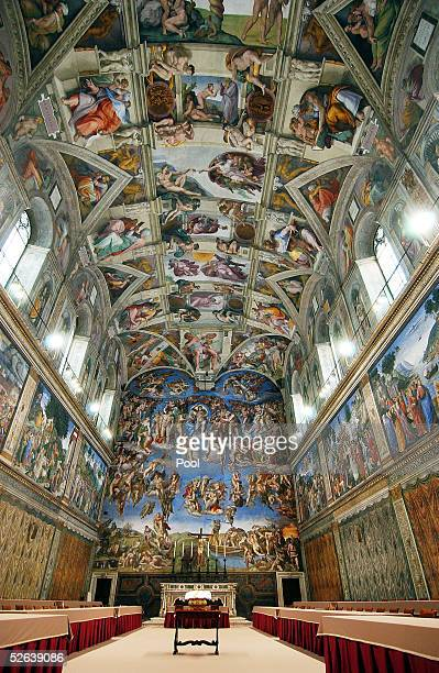 Tables and chairs are set in the Sistine Chapel where Conclave of Cardinals will be hosted to pick the next Pope April 16 2005 in Vatican City The...