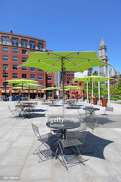 Tables and Chairs on a Boston City Terrace