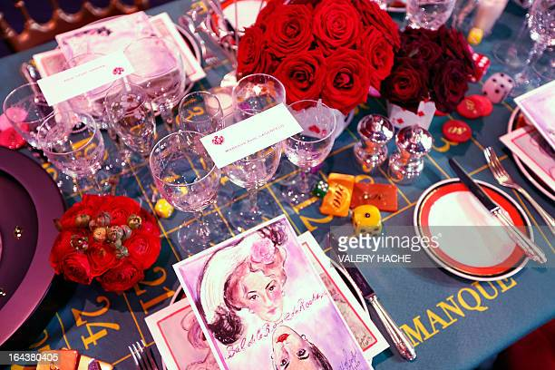 Tables and decoration are set up for the annual Rose Ball at the MonteCarlo Sporting Club in Monaco on March 23 2013 The Rose Ball is one of the...