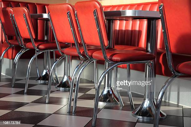 Tables and Red Leather Chairs in the Fast Food Restaurant