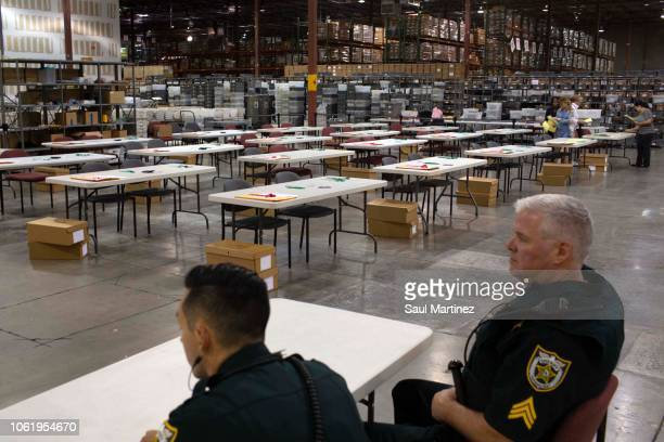 Tables are being set up for a possible manual recount of votes at the Supervisor of Elections Service Center on November 15 2018 in Palm Beach...