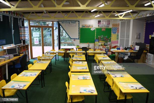 Tables are seen spaced out with children's belongings sealed in plastic as the school is prepared to provide a teaching environment safe from...