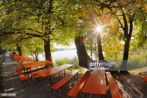 Tables from the beer garden of Maisinger Seehof, Lake Maising near Maising, community of Poecking, Fuenfseenland, Five Lakes region, Upper Bavaria, Bavaria, Germany, PublicGround