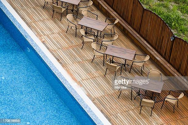 tables near the pool