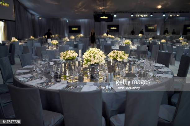 Tables on display at the 25th Annual Elton John AIDS Foundation's Academy Awards Viewing Party at The City of West Hollywood Park on February 26 2017...