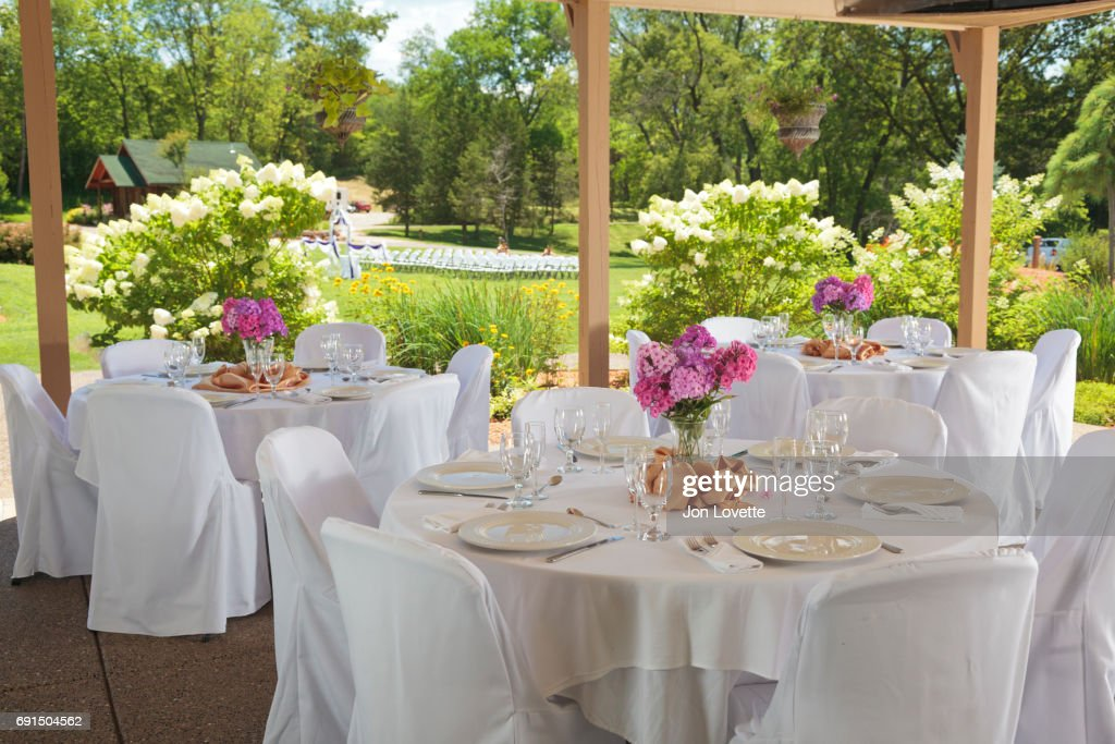 Tables set up for wedding reception in country setting  Stock Photo & Tables Set Up For Wedding Reception In Country Setting Stock Photo ...