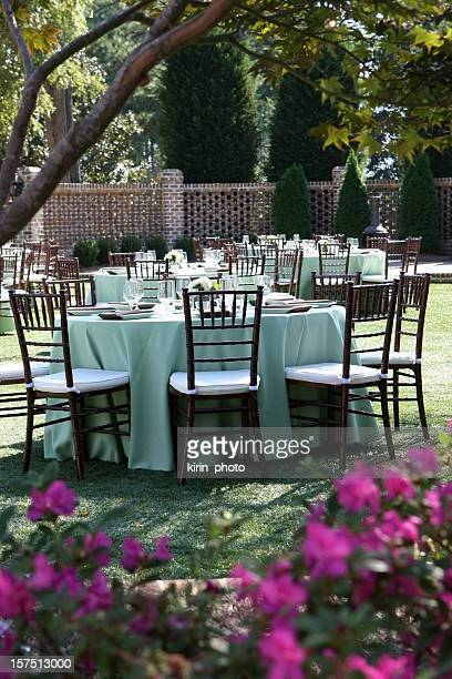 Tables set up for wedding reception.