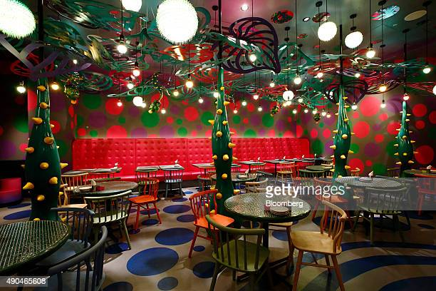 Tables stand in the Mushroom Disco room at the Kawaii Monster Cafe operated by Diamond Dining Co in the Harajuku area of Tokyo Japan on Thursday Sept...