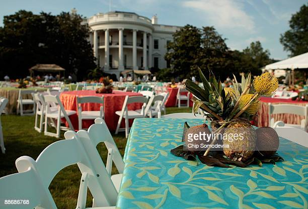 Tablesettings with pineapples and coconuts for a luau for members of Congress and their families on the South Lawn of the White House June 25 2009 in...