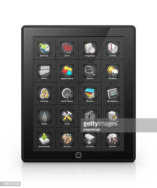 tablet apps - icon set stock photos and pictures