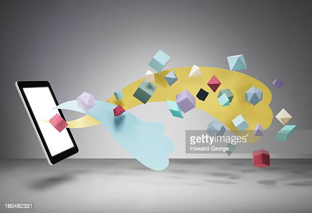 ipad with geometric shapes floating - communication stock pictures, royalty-free photos & images