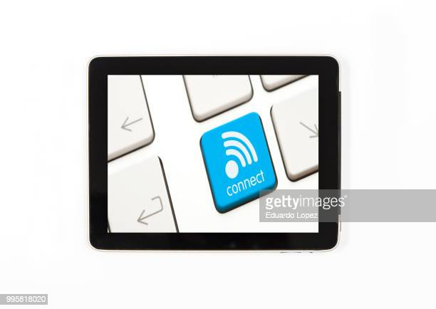 Tablet concept wifi sign:Tablet isolated with sign wifi