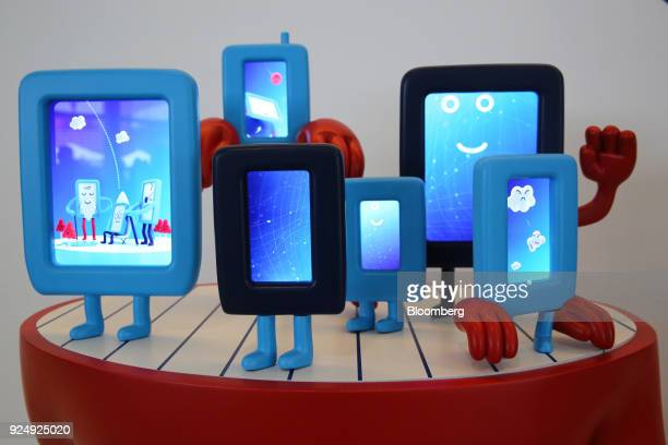 Tablet devices display characters and emoji during day two of the Mobile World Congress in Barcelona Spain on Tuesday Feb 27 2018 At the wireless...